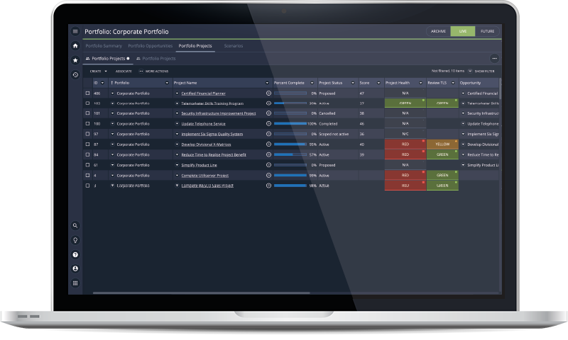 Manage your portfolio and track performance and results